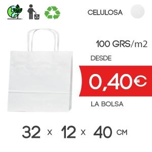 Bolsa de Asa Rizada blanco de 32x12x40 cm Kraft Liso