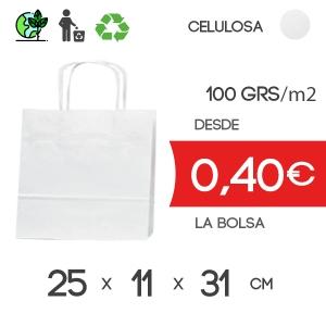 Bolsa de Asa Rizada blanco de 25x11x31 cm Kraft Liso