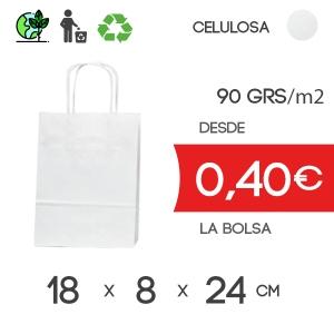 Bolsa de Asa Rizada blanco de 18x8x24 cm Celulosa 90gr