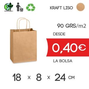 Bolsa de Asa Rizada marrón de 18x8x24 cm Kraft Liso 90gr