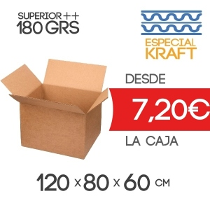 Cajas de Cartón Tamaño Palet Europeo en Canal Doble Reforzado Medida 120x80x60 cm (4 Solapas)
