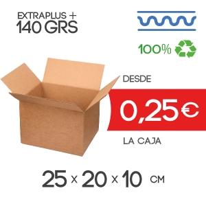 Caja de Cartón de 25x20x10 cm exteriores en Canal Sencillo Marrón