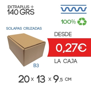 20x13x9 cm Caja de Cartón de Canal Sencillo (4 Solapas)