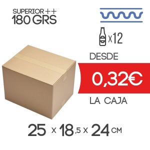 Caja de Cartón para 12 Botellines de Cerveza de 33cl en color Marrón