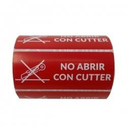 "Etiqueta adhesiva ""No abrir con cutter"" color rojo 95x35mm"